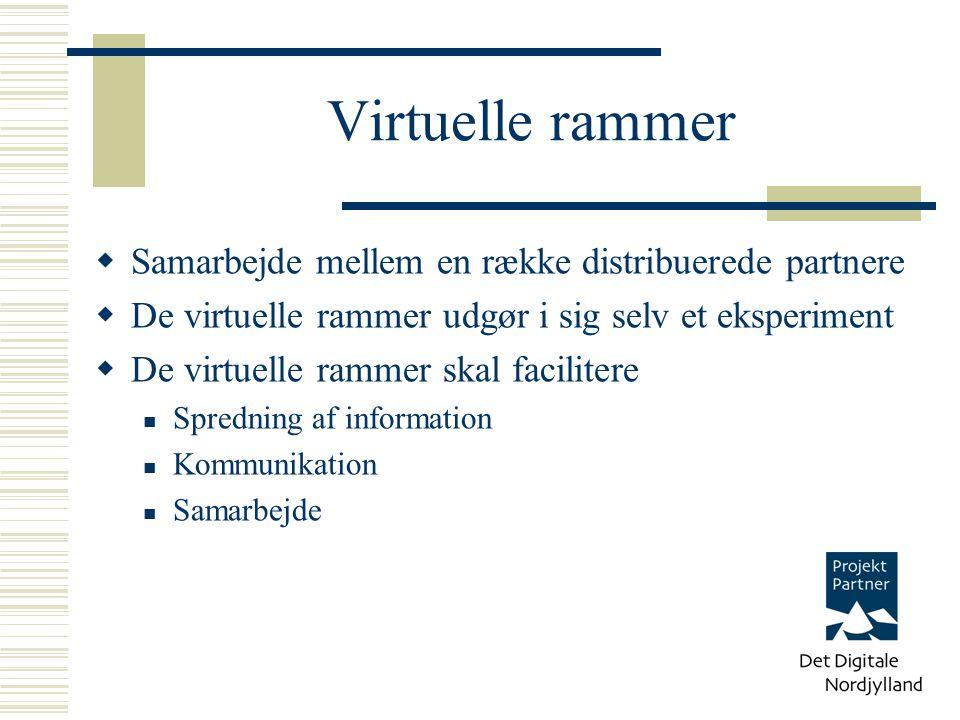 Virtuelle rammer  Samarbejde mellem en række distribuerede partnere  De virtuelle rammer udgør i sig selv et eksperiment  De virtuelle rammer skal facilitere Spredning af information Kommunikation Samarbejde