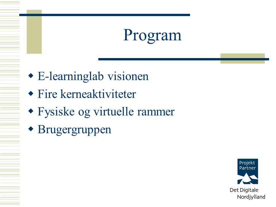 Program  E-learninglab visionen  Fire kerneaktiviteter  Fysiske og virtuelle rammer  Brugergruppen