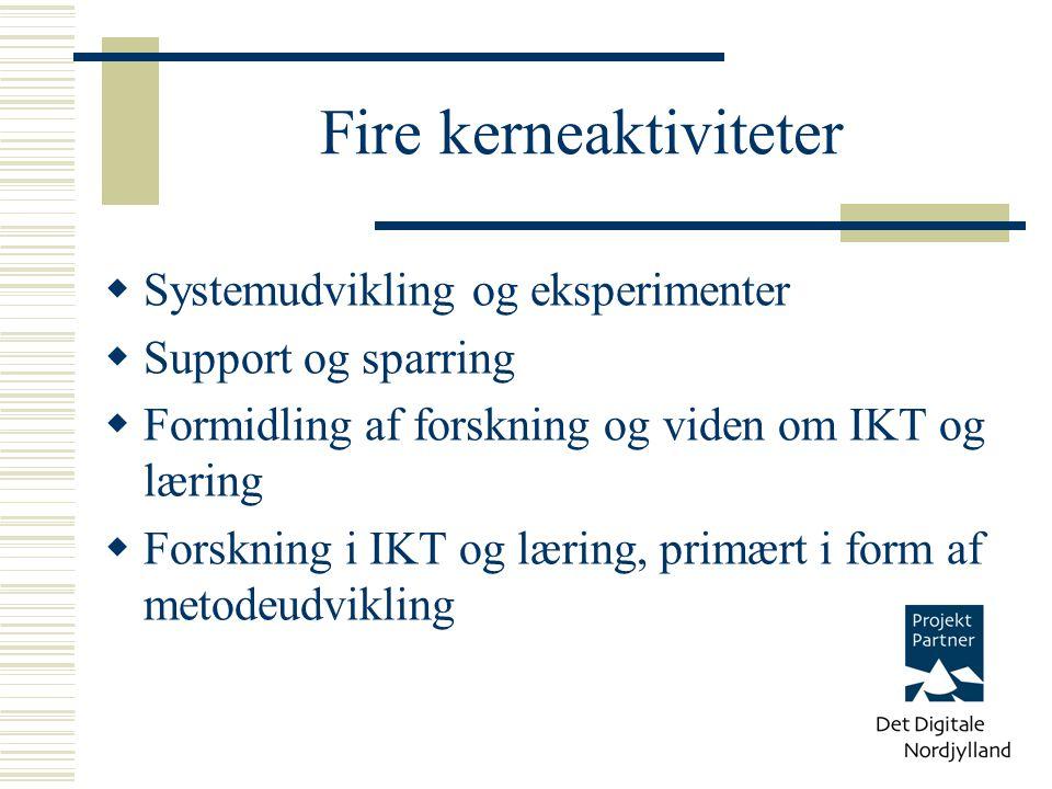 Fire kerneaktiviteter  Systemudvikling og eksperimenter  Support og sparring  Formidling af forskning og viden om IKT og læring  Forskning i IKT og læring, primært i form af metodeudvikling