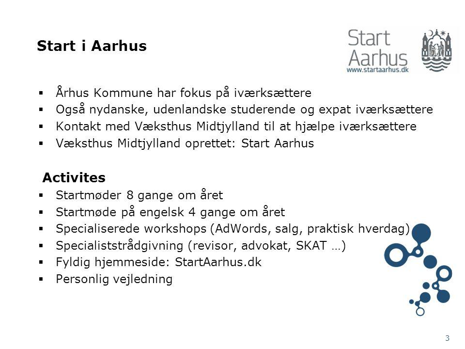 Start i Aarhus  Århus Kommune har fokus på iværksættere  Også nydanske, udenlandske studerende og expat iværksættere  Kontakt med Væksthus Midtjylland til at hjælpe iværksættere  Væksthus Midtjylland oprettet: Start Aarhus Activites  Startmøder 8 gange om året  Startmøde på engelsk 4 gange om året  Specialiserede workshops (AdWords, salg, praktisk hverdag)  Specialiststrådgivning (revisor, advokat, SKAT …)  Fyldig hjemmeside: StartAarhus.dk  Personlig vejledning 3
