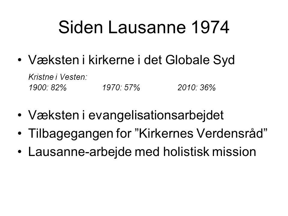 Siden Lausanne 1974 Væksten i kirkerne i det Globale Syd Kristne i Vesten: 1900: 82% 1970: 57% 2010: 36% Væksten i evangelisationsarbejdet Tilbagegangen for Kirkernes Verdensråd Lausanne-arbejde med holistisk mission