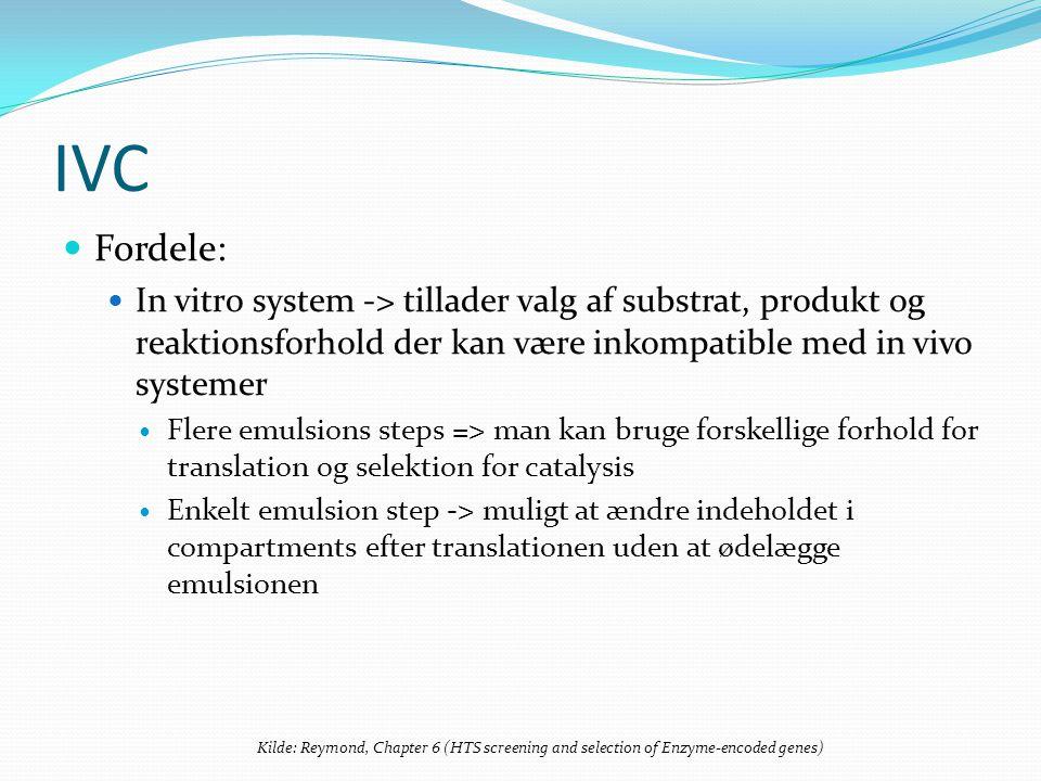 IVC Fordele: In vitro system -> tillader valg af substrat, produkt og reaktionsforhold der kan være inkompatible med in vivo systemer Flere emulsions steps => man kan bruge forskellige forhold for translation og selektion for catalysis Enkelt emulsion step -> muligt at ændre indeholdet i compartments efter translationen uden at ødelægge emulsionen Kilde: Reymond, Chapter 6 (HTS screening and selection of Enzyme-encoded genes)
