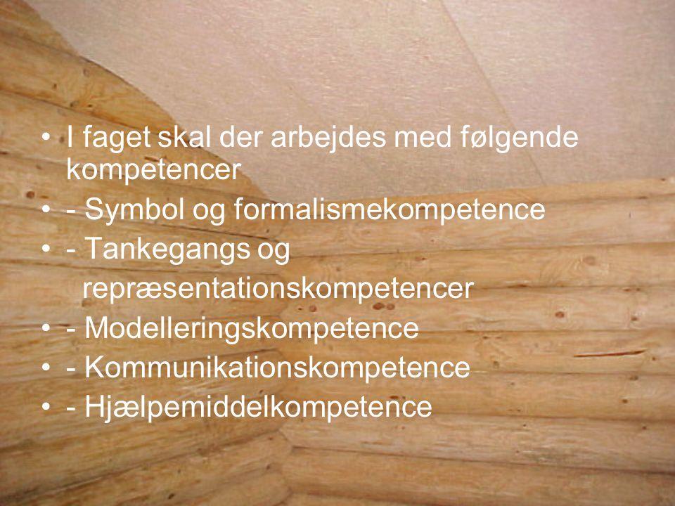 I faget skal der arbejdes med følgende kompetencer - Symbol og formalismekompetence - Tankegangs og repræsentationskompetencer - Modelleringskompetence - Kommunikationskompetence - Hjælpemiddelkompetence