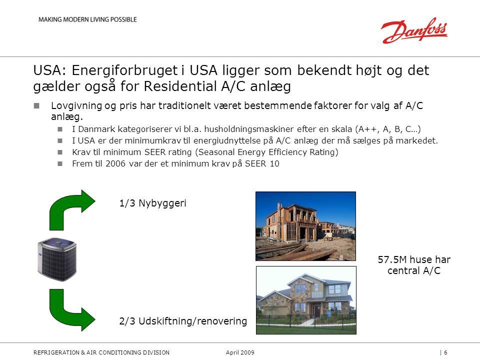 REFRIGERATION & AIR CONDITIONING DIVISIONApril 2009| 6| 6 USA: Energiforbruget i USA ligger som bekendt højt og det gælder også for Residential A/C anlæg Lovgivning og pris har traditionelt været bestemmende faktorer for valg af A/C anlæg.