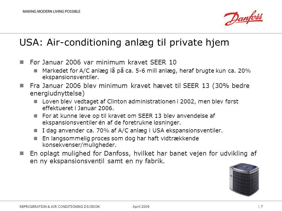 REFRIGERATION & AIR CONDITIONING DIVISIONApril 2009| 7| 7 USA: Air-conditioning anlæg til private hjem Før Januar 2006 var minimum kravet SEER 10 Markedet for A/C anlæg lå på ca.