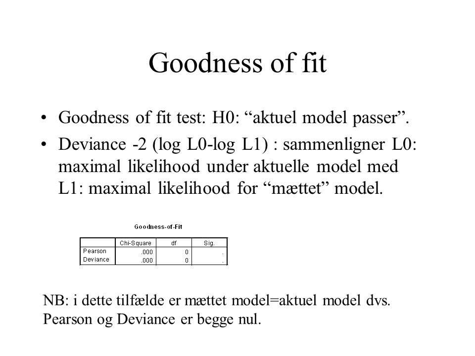 Goodness of fit Goodness of fit test: H0: aktuel model passer .