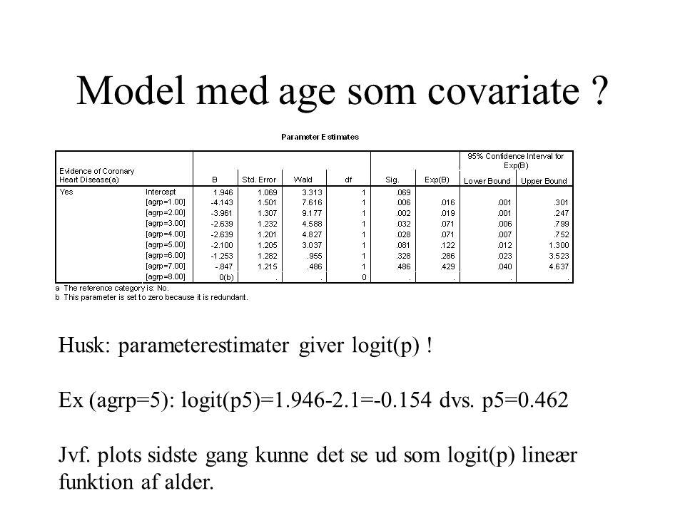Model med age som covariate . Husk: parameterestimater giver logit(p) .