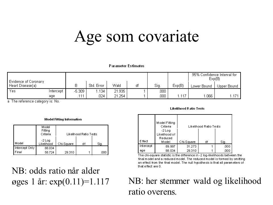 Age som covariate NB: her stemmer wald og likelihood ratio overens.