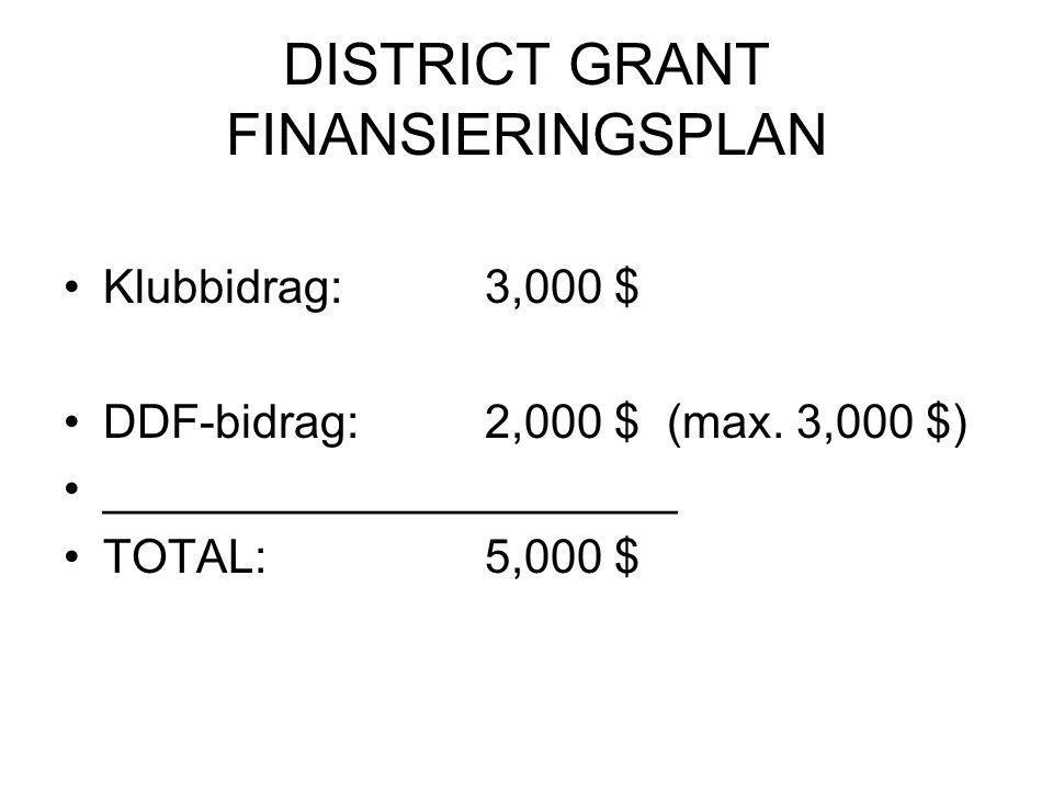 DISTRICT GRANT FINANSIERINGSPLAN Klubbidrag:3,000 $ DDF-bidrag:2,000 $ (max.