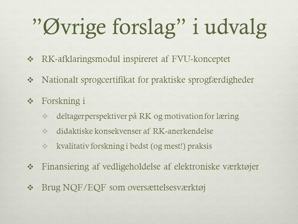 Øvrige forslag i udvalg  RK-afklaringsmodul inspireret af FVU-konceptet  Nationalt sprogcertifikat for praktiske sprogfærdigheder  Forskning i  deltagerperspektiver på RK og motivation for læring  didaktiske konsekvenser af RK-anerkendelse  kvalitativ forskning i bedst (og mest!) praksis  Finansiering af vedligeholdelse af elektroniske værktøjer  Brug NQF/EQF som oversættelsesværktøj