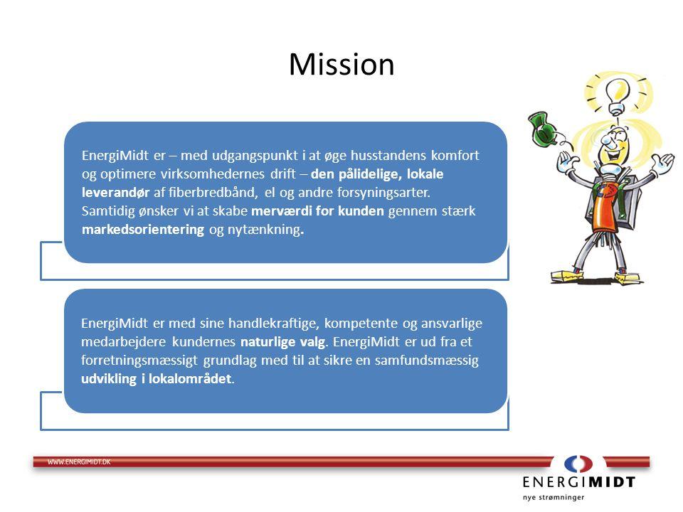 Mission EnergiMidt er – med udgangspunkt i at øge husstandens komfort og optimere virksomhedernes drift – den pålidelige, lokale leverandør af fiberbredbånd, el og andre forsyningsarter.