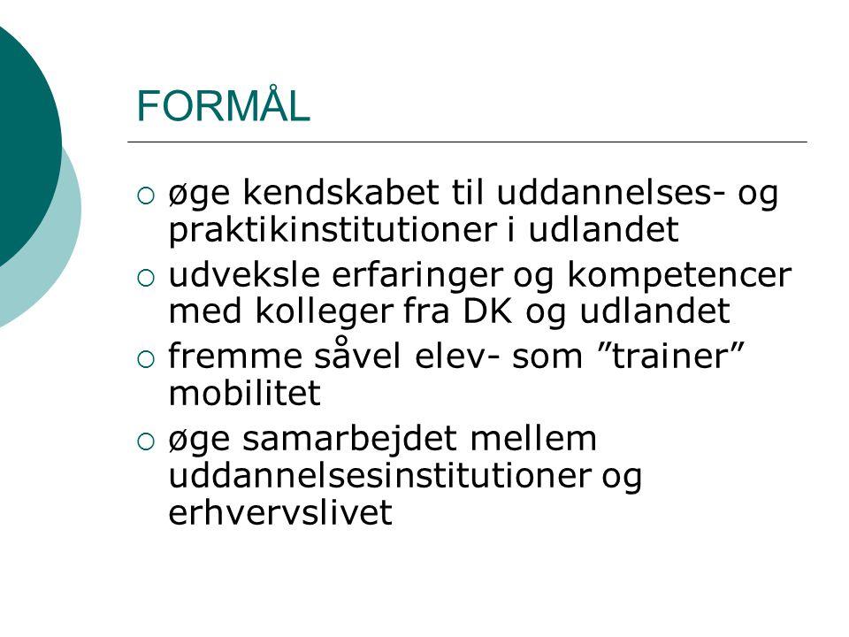 FORMÅL  øge kendskabet til uddannelses- og praktikinstitutioner i udlandet  udveksle erfaringer og kompetencer med kolleger fra DK og udlandet  fremme såvel elev- som trainer mobilitet  øge samarbejdet mellem uddannelsesinstitutioner og erhvervslivet
