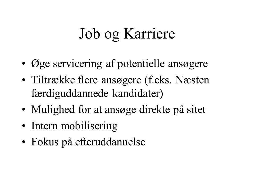 Job og Karriere Øge servicering af potentielle ansøgere Tiltrække flere ansøgere (f.eks.