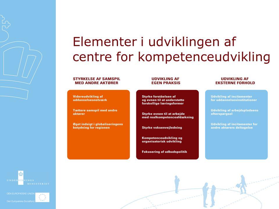 Elementer i udviklingen af centre for kompetenceudvikling