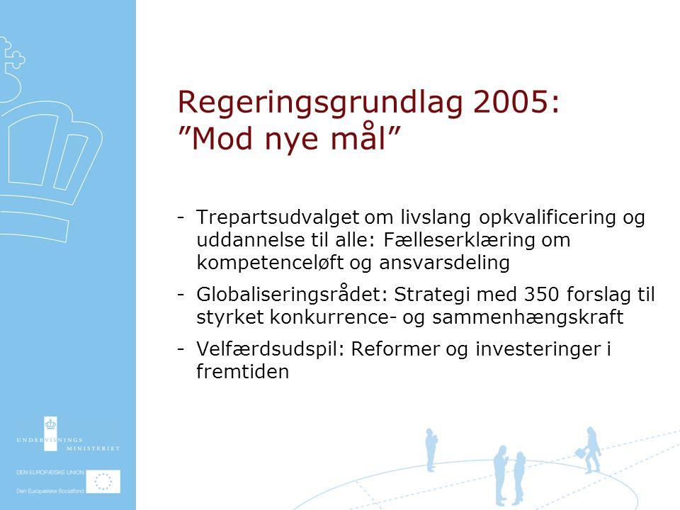 Regeringsgrundlag 2005: Mod nye mål Trepartsudvalget om livslang opkvalificering og uddannelse til alle: Fælleserklæring om kompetenceløft og ansvarsdeling Globaliseringsrådet: Strategi med 350 forslag til styrket konkurrence- og sammenhængskraft Velfærdsudspil: Reformer og investeringer i fremtiden