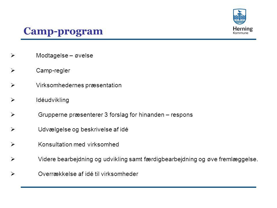  Modtagelse – øvelse  Camp-regler  Virksomhedernes præsentation  Idéudvikling  Grupperne præsenterer 3 forslag for hinanden – respons  Udvælgelse og beskrivelse af idé  Konsultation med virksomhed  Videre bearbejdning og udvikling samt færdigbearbejdning og øve fremlæggelse.