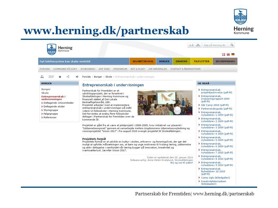 www.herning.dk/partnerskab Partnerskab for Fremtiden| www.herning.dk/partnerskab