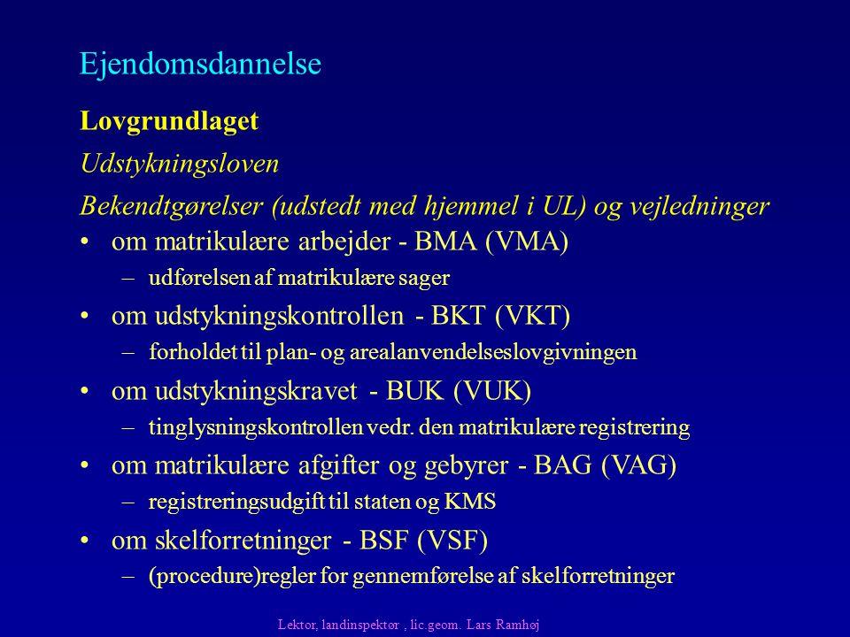 Lovgrundlaget Bekendtgørelser (udstedt med hjemmel i UL) og vejledninger Udstykningsloven om matrikulære arbejder - BMA (VMA) –udførelsen af matrikulære sager om udstykningskontrollen - BKT (VKT) –forholdet til plan- og arealanvendelseslovgivningen om udstykningskravet - BUK (VUK) –tinglysningskontrollen vedr.