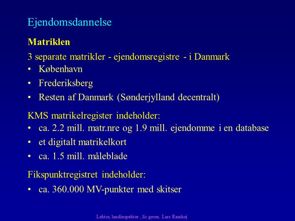 København Frederiksberg Resten af Danmark (Sønderjylland decentralt) Matriklen KMS matrikelregister indeholder: 3 separate matrikler - ejendomsregistre - i Danmark ca.