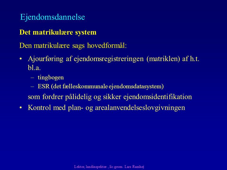 Ajourføring af ejendomsregistreringen (matriklen) af h.t.
