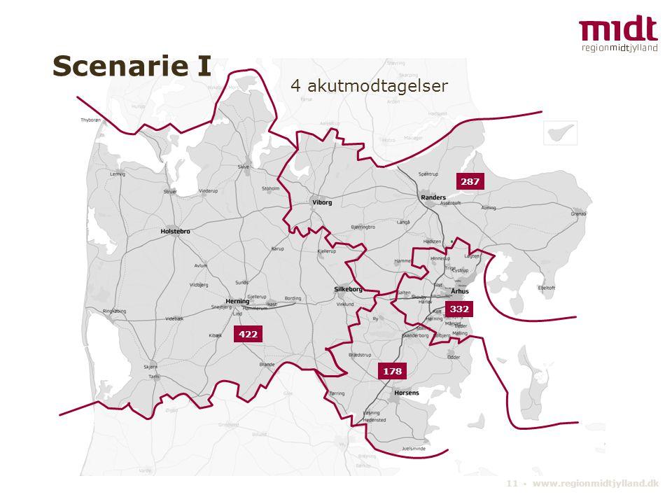 11 ▪ www.regionmidtjylland.dk 4 akutmodtagelser Scenarie I 332 287 178 422