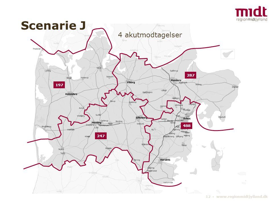 12 ▪ www.regionmidtjylland.dk 4 akutmodtagelser Scenarie J 488 197 287 247