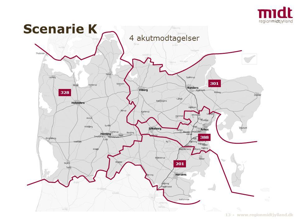 13 ▪ www.regionmidtjylland.dk 4 akutmodtagelser Scenarie K 388 328 301 201