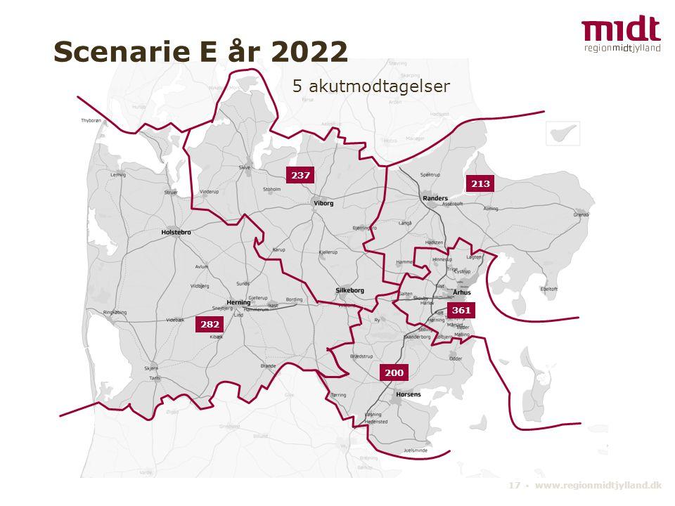 17 ▪ www.regionmidtjylland.dk 5 akutmodtagelser Scenarie E år 2022 361 237 213 200 282