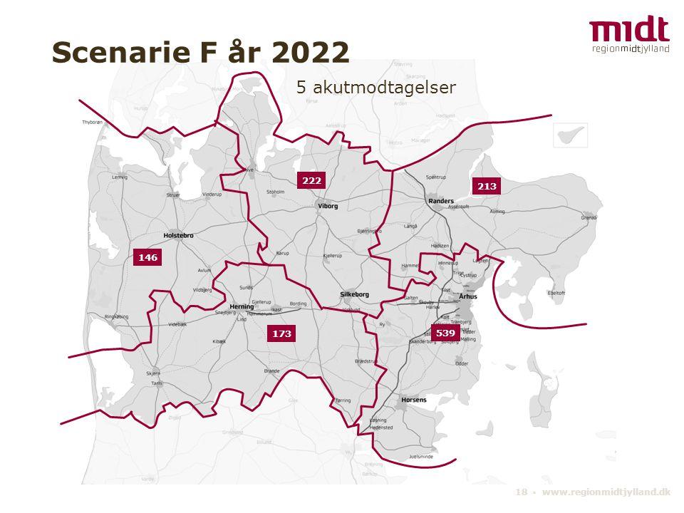 18 ▪ www.regionmidtjylland.dk 5 akutmodtagelser Scenarie F år 2022 539 222 213 173 146
