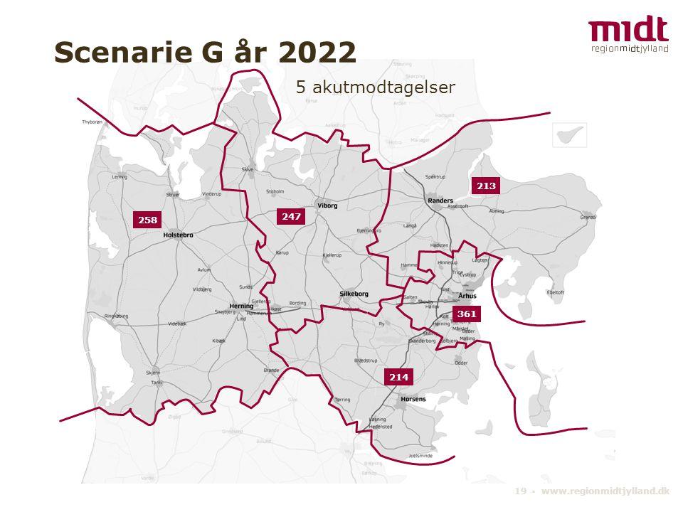 19 ▪ www.regionmidtjylland.dk 5 akutmodtagelser Scenarie G år 2022 361 247 213 214 258