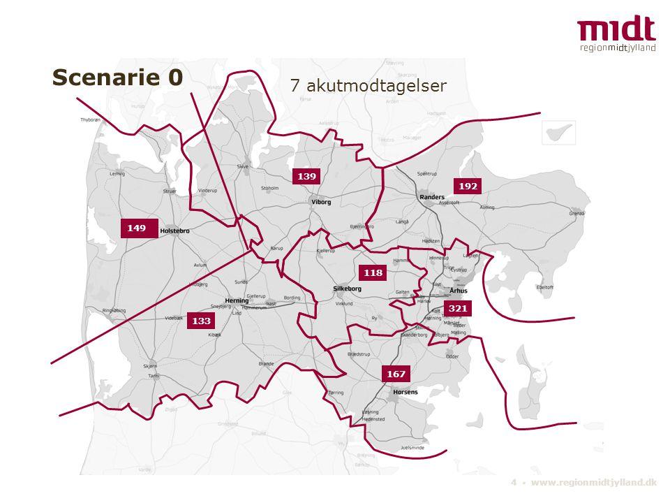 4 ▪ www.regionmidtjylland.dk 321 133 192 167 139 118 Scenarie 0 7 akutmodtagelser 149