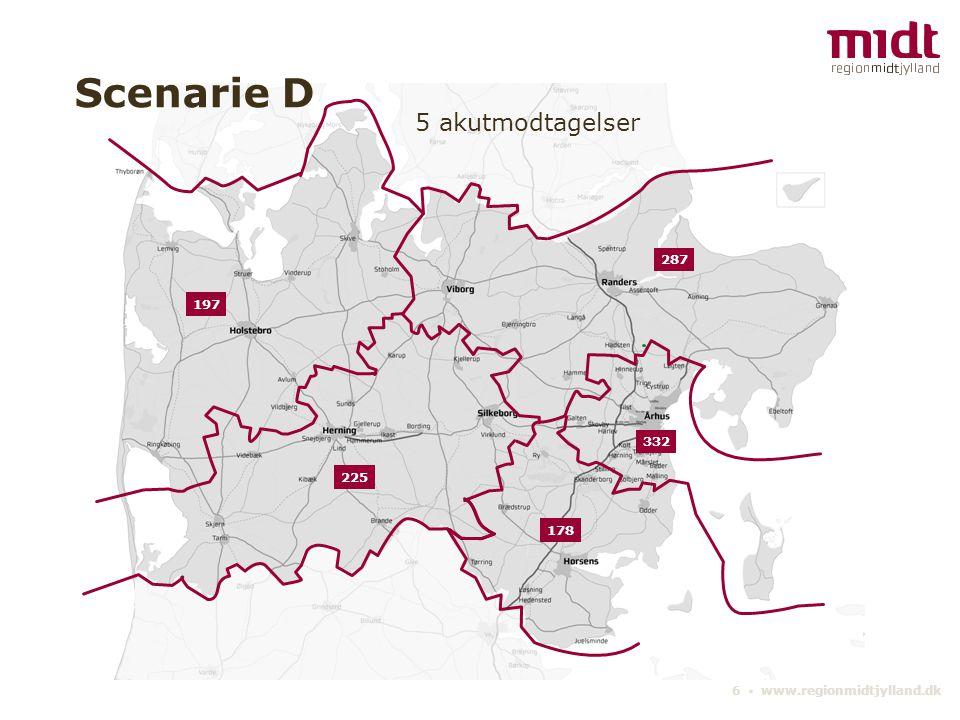 6 ▪ www.regionmidtjylland.dk 5 akutmodtagelser Scenarie D 332 197 287 178 225