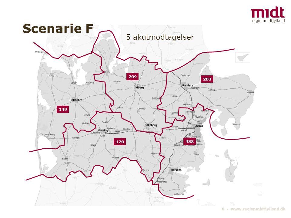 8 ▪ www.regionmidtjylland.dk 5 akutmodtagelser Scenarie F 488 209 203 170 149