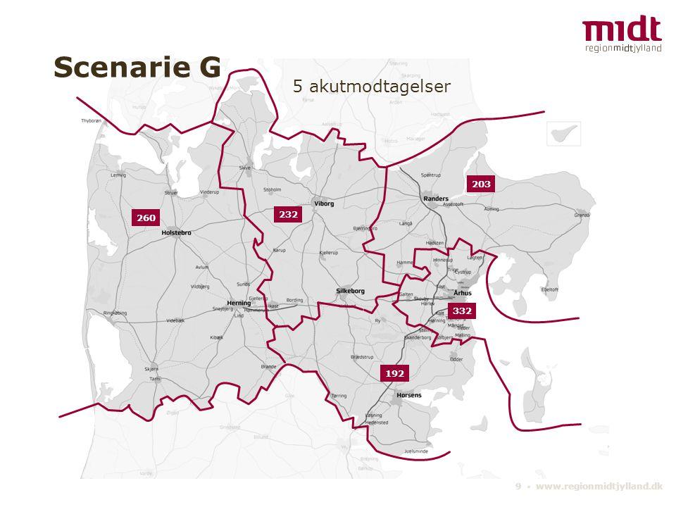 9 ▪ www.regionmidtjylland.dk 5 akutmodtagelser Scenarie G 332 232 203 192 260