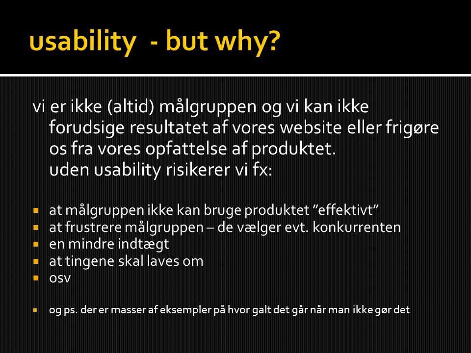 vi er ikke (altid) målgruppen og vi kan ikke forudsige resultatet af vores website eller frigøre os fra vores opfattelse af produktet.