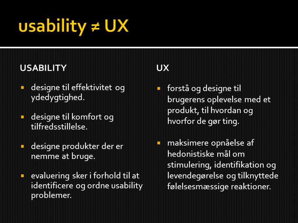 USABILITY  designe til effektivitet og ydedygtighed.