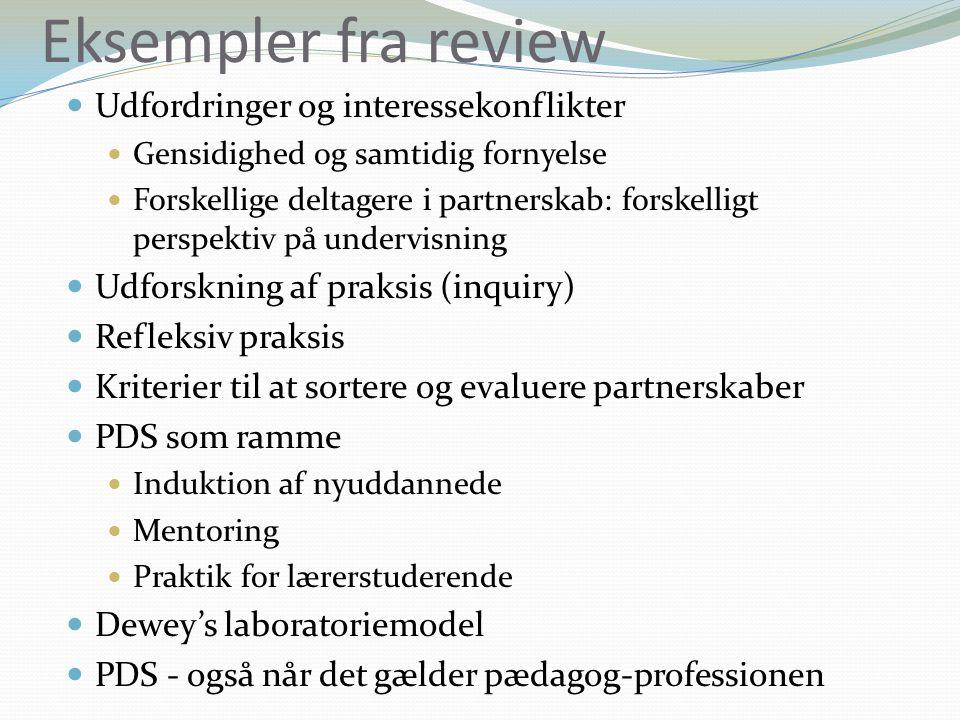 Eksempler fra review Udfordringer og interessekonflikter Gensidighed og samtidig fornyelse Forskellige deltagere i partnerskab: forskelligt perspektiv på undervisning Udforskning af praksis (inquiry) Refleksiv praksis Kriterier til at sortere og evaluere partnerskaber PDS som ramme Induktion af nyuddannede Mentoring Praktik for lærerstuderende Dewey's laboratoriemodel PDS - også når det gælder pædagog-professionen