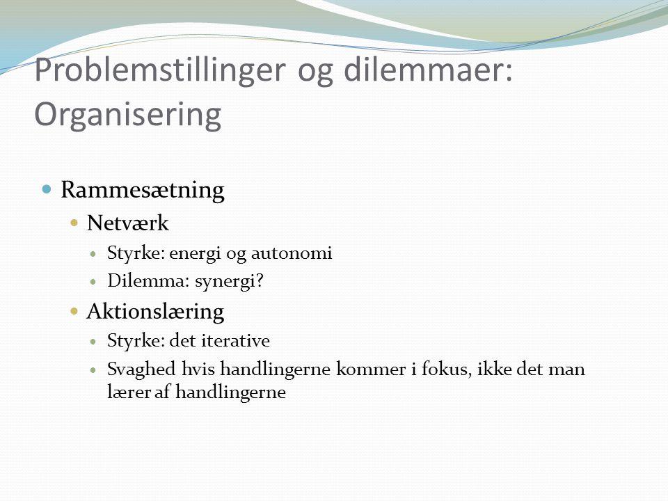 Problemstillinger og dilemmaer: Organisering Rammesætning Netværk Styrke: energi og autonomi Dilemma: synergi.