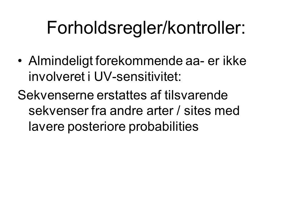 Forholdsregler/kontroller: Almindeligt forekommende aa- er ikke involveret i UV-sensitivitet: Sekvenserne erstattes af tilsvarende sekvenser fra andre arter / sites med lavere posteriore probabilities
