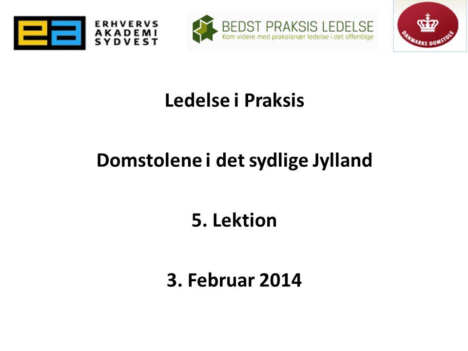 Ledelse i Praksis Domstolene i det sydlige Jylland 5. Lektion 3. Februar 2014