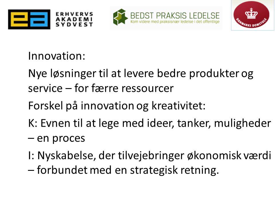 Innovation: Nye løsninger til at levere bedre produkter og service – for færre ressourcer Forskel på innovation og kreativitet: K: Evnen til at lege med ideer, tanker, muligheder – en proces I: Nyskabelse, der tilvejebringer økonomisk værdi – forbundet med en strategisk retning.