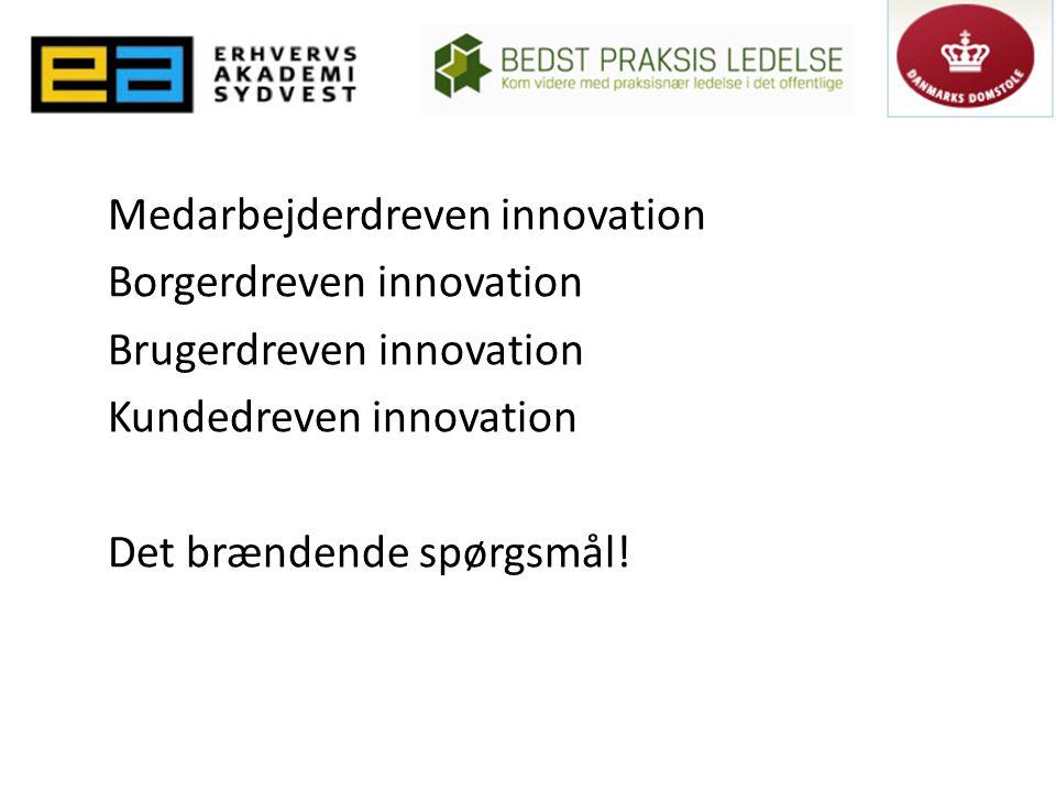 Medarbejderdreven innovation Borgerdreven innovation Brugerdreven innovation Kundedreven innovation Det brændende spørgsmål!