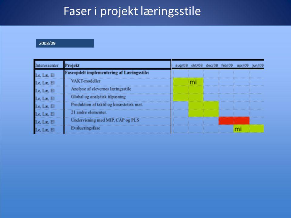 Faser i projekt læringsstile 2008/09