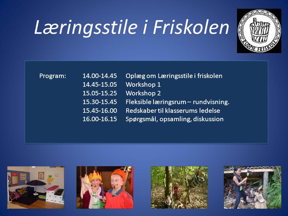 Læringsstile i Friskolen Program:14.00-14.45Oplæg om Læringsstile i friskolen 14.45-15.05Workshop 1 15.05-15.25Workshop 2 15.30-15.45Fleksible læringsrum – rundvisning.