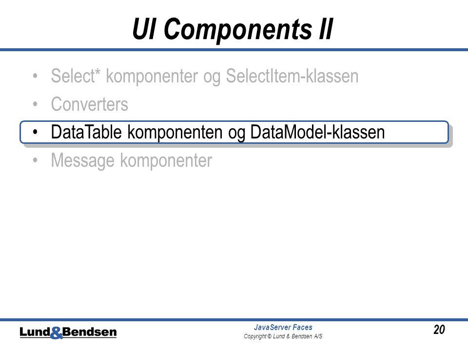 20 JavaServer Faces Copyright © Lund & Bendsen A/S Select* komponenter og SelectItem-klassen Converters DataTable komponenten og DataModel-klassen Message komponenter UI Components II
