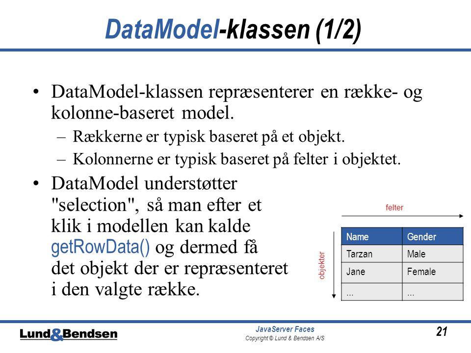 21 JavaServer Faces Copyright © Lund & Bendsen A/S DataModel-klassen (1/2) DataModel-klassen repræsenterer en række- og kolonne-baseret model.