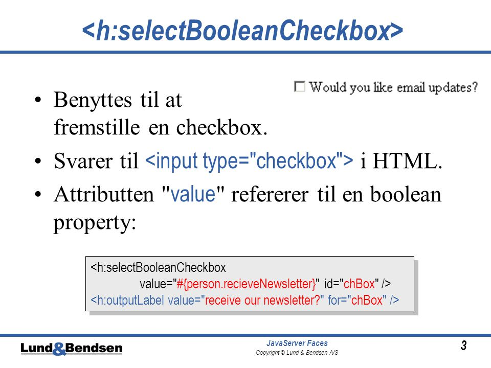3 JavaServer Faces Copyright © Lund & Bendsen A/S Benyttes til at fremstille en checkbox.