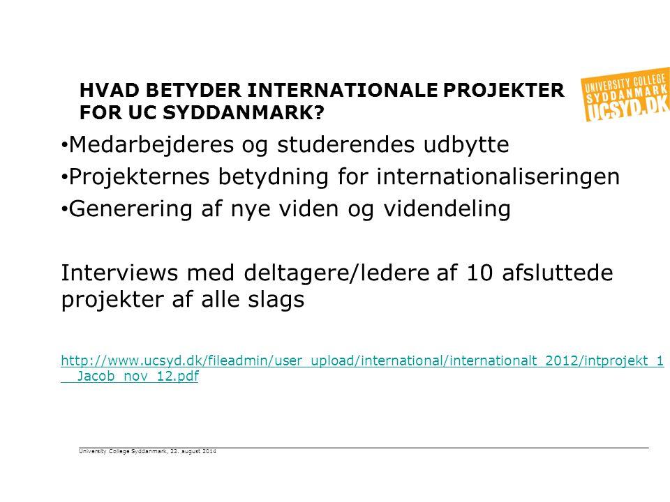HVAD BETYDER INTERNATIONALE PROJEKTER FOR UC SYDDANMARK.