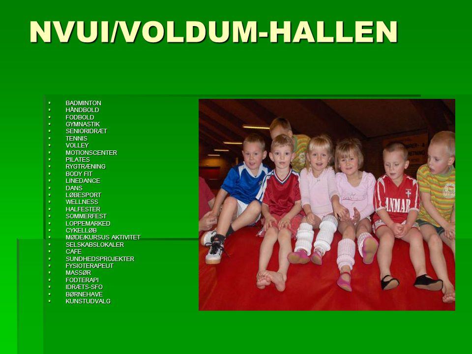 NVUI/VOLDUM-HALLEN  BADMINTON  HÅNDBOLD  FODBOLD  GYMNASTIK  SENIORIDRÆT  TENNIS  VOLLEY  MOTIONSCENTER  PILATES  RYGTRÆNING  BODY FIT  LINEDANCE  DANS  LØBESPORT  WELLNESS  HALFESTER  SOMMERFEST  LOPPEMARKED  CYKELLØB  MØDE/KURSUS AKTIVITET  SELSKABSLOKALER  CAFE  SUNDHEDSPROJEKTER  FYSIOTERAPEUT  MASSØR  FODTERAPI  IDRÆTS-SFO  BØRNEHAVE  KUNSTUDVALG