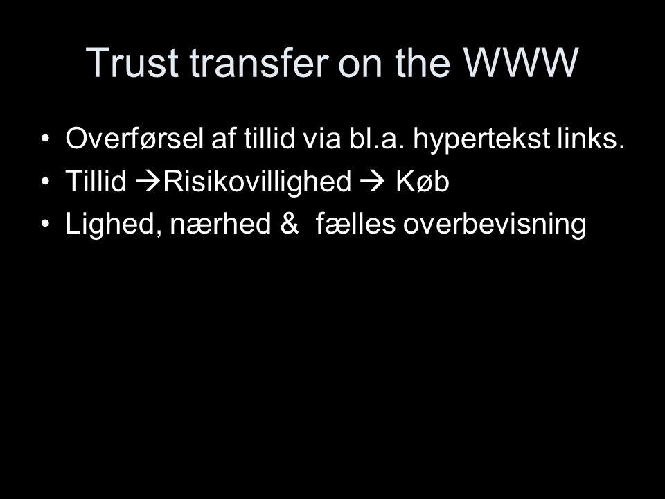 Trust transfer on the WWW Overførsel af tillid via bl.a.